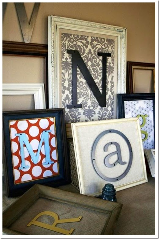 framed painted wood letters