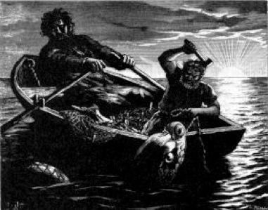 Thor e Hymir pescando Ilustración de 1893 para la edición sueca de la Edda poética de Fredrik Sander