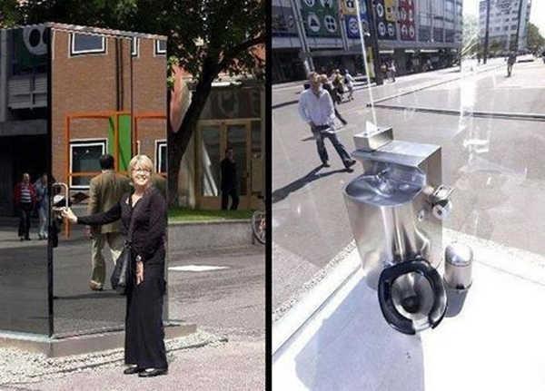 10- Um banheiro publico espelhado
