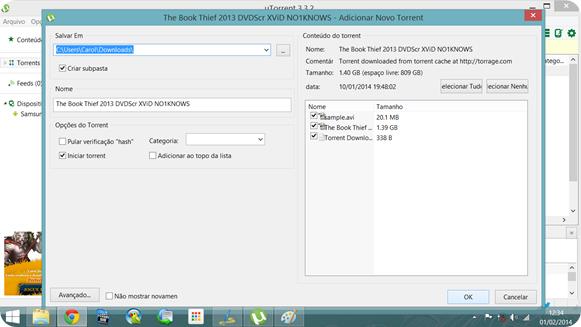 Tela do uTorrent: assim que você executar o arquivo, clique em OK para começar a baixar.