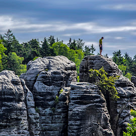 And now I have to down by Don Fohler - Sports & Fitness Other Sports ( czech paradise, cloud, sandstone, landscape, people )
