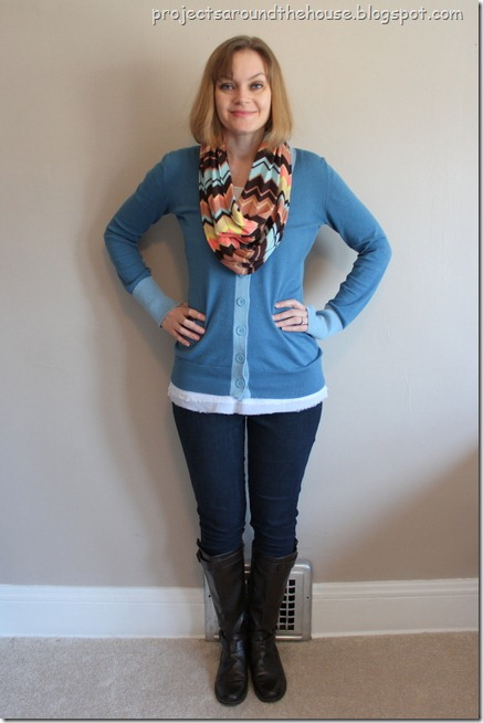 blue cardigan, missoni scarf, skinny jeans, brown boots