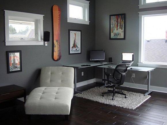 Sala de estudio con escritorio de esquina