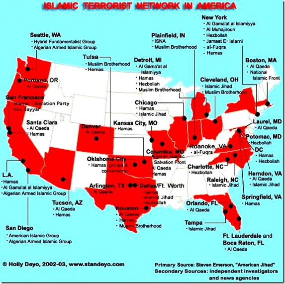 This map shows locations of Islamic terrorist groups in the US