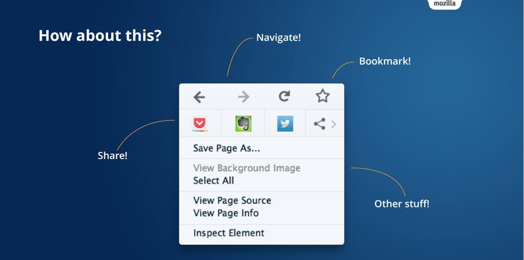 Mozilla Firefox: il nuovo menu contestuale