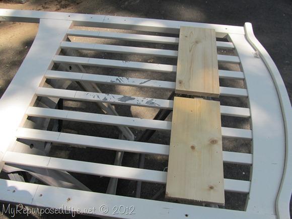 cutting a crib to make a bench