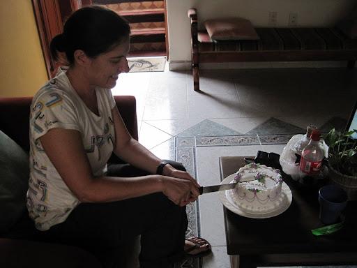 Michele cutting her birthday cake