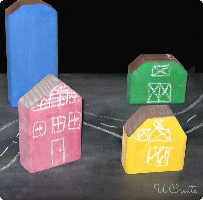 DIY Chalkboard Building Play Set - the kids create their buildings with chalk!