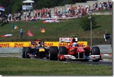 Alonso precede Vettel nel gran premio d'Ungheria 2010