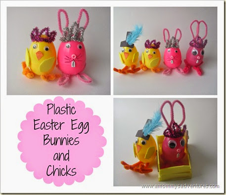 Plastic Easter Egg Bunnies and Chicks