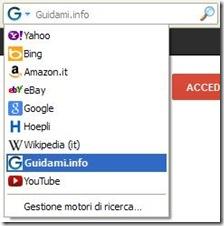 Barra di ricerca Firefox con motore aggiunto manualmente