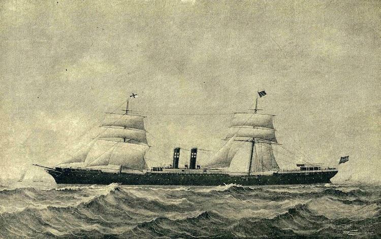 El vapor PIO IX, con las velas desplegadas. Grabado. REVISTA DE NAVEGACION Y COMERCIO. 1.893.jpg