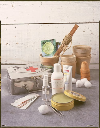 This is a custom first-aid kit for gardeners.  It contains supplies specific to a gardener's needs.  A great gift idea.