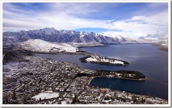 Winter scene in the snow, Queenstown. New Zealand.