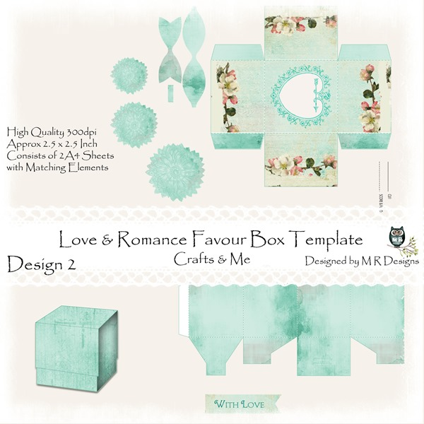 Love & Romance Favour Box Design 2 Front Sheet