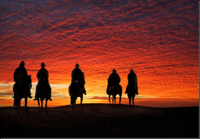 Australia, Cattle Drive, cow boys all'alba