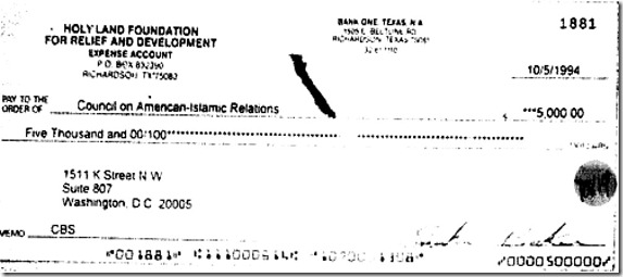 HLF check to CAIR