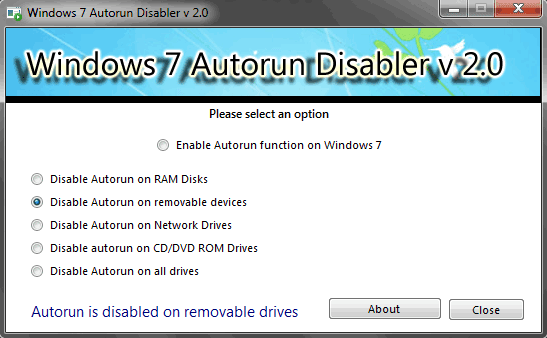 Autorun Disabling Utility for Windows 7 Download