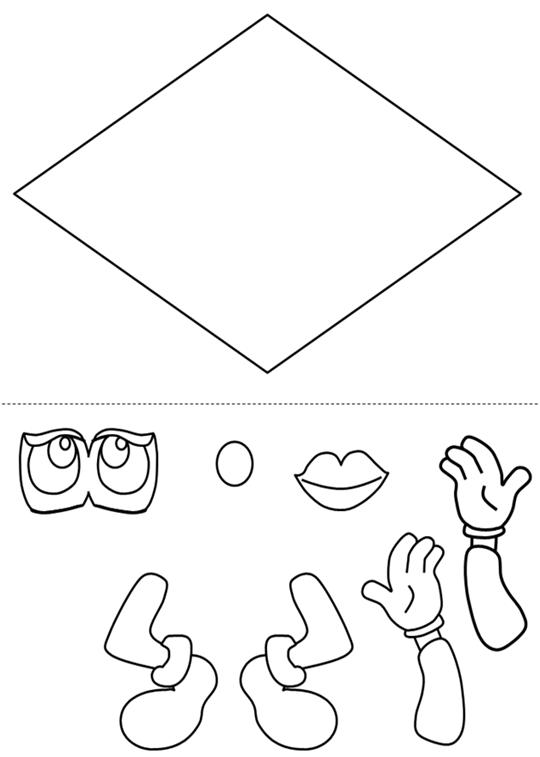 Manualidades para Niños: Forma de Diamante para colorear y recortar.