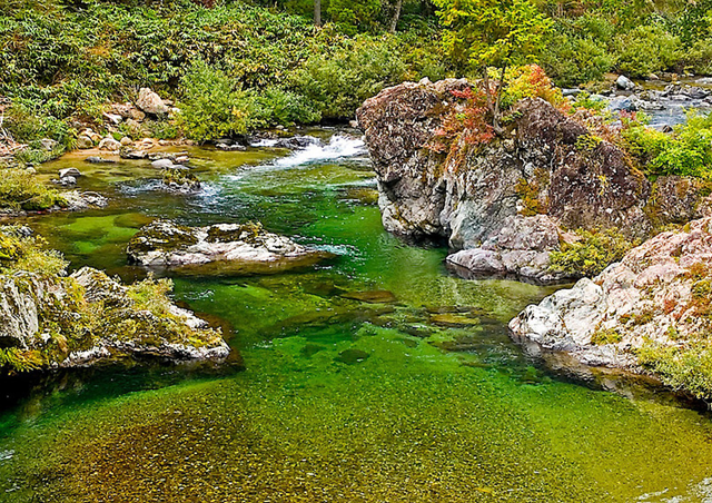 A stream in the Japan Alps near Takayama. The river bed is limestone; hence the clarity and brilliant colour of the water. johnrf / redbubble.com