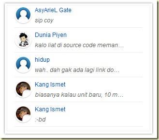 gadget commentaires récents avec avatars