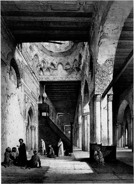 Mosque of Ali mad ibn Tulun, interior of the maqsura, 9th century. Gypsum and ash pillars accentuate the domed mihrab. The mosque, inspired by the great mosque of Samarra in the patron's homeland, accommodated a burgeoning population of troops. The decaying ornament in the arch's soffit no longer exists.