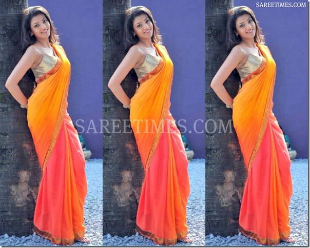 Kajal_Agarwal_Dual_Color_Saree