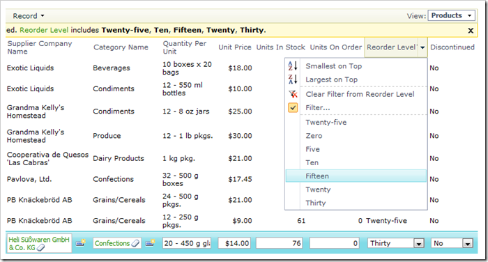 Reorder Level field in Products now showing static items as words, and as a drop down list