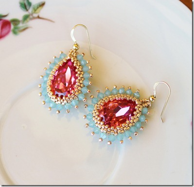 chibistar88 Swarovski crystal beaded bezel 18x13 rose pear shaped crystal pacific opal crystal gold earrings