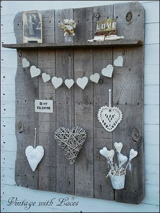Pallet Wood Shelf with Valentines Decoration