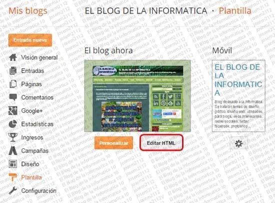 Menú CSS en Blogger - opción Editar HTML de la plantilla
