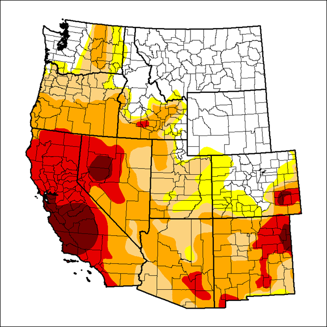 U.S. Drought Monitor status for 22 April 2014. All of California is in drought. Graphic: Richard Heim / NCDC / NOAA