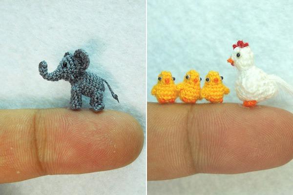 Miniaturas-Animais-Crochê-Elefante-Pintinhos-Galinha