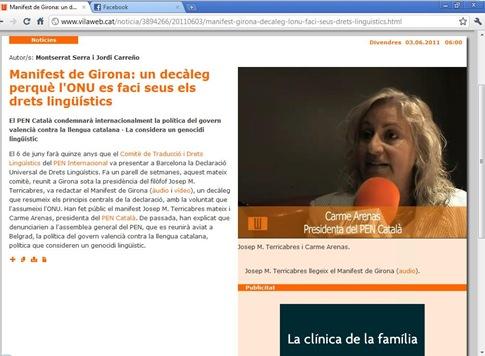 Carme Arenas PEN Club Català Vilaweb 030611