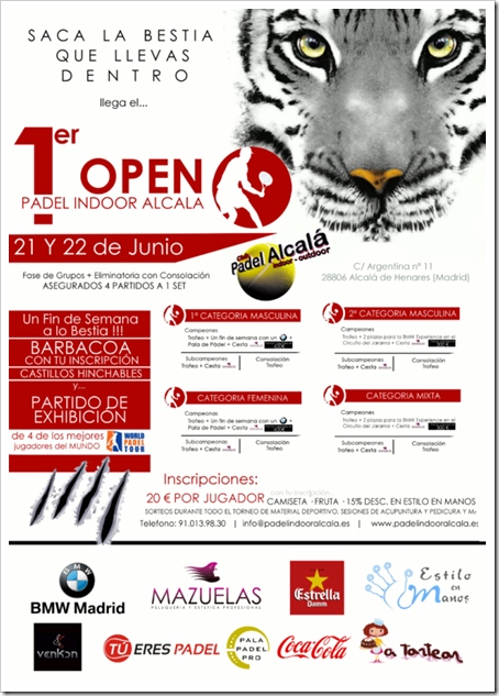 1er Open Club Padel Indoor Alcalá 21 y 22 de junio de 2014.