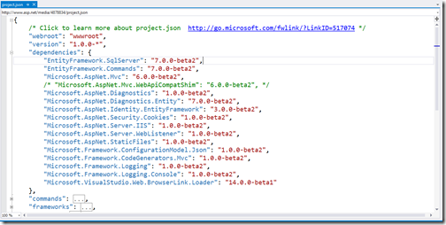 project-json-strcture-aspnet5