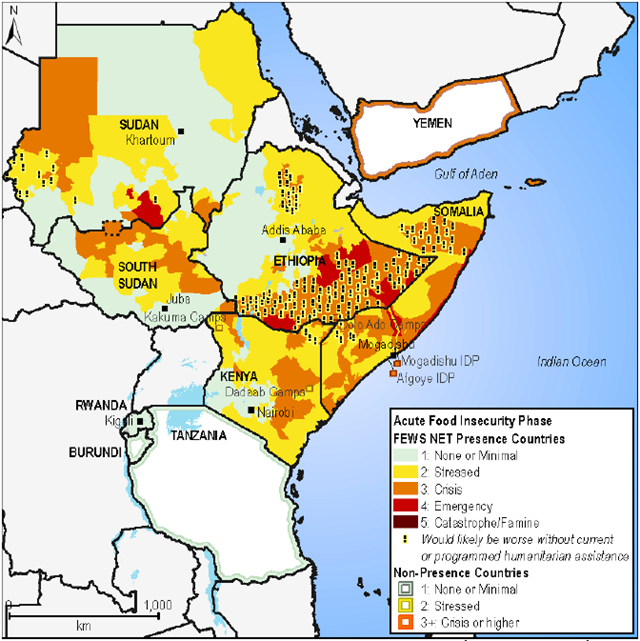 Projected food security outcomes in East Africa, July-September, 2012. FEWS NET