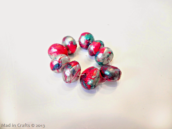 pink and turquoise marble beads