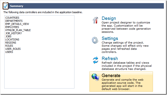 Activating the 'Generate' button on the Summary screen.