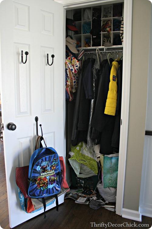 organizing coat closet