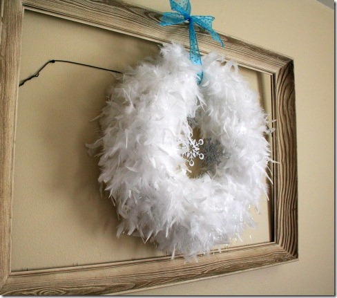 Winter wreath--white feather wreath with snowflakes