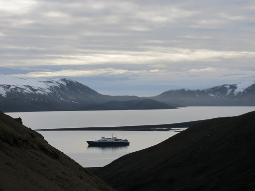 The Plancius in Whaler's Bay, part of Deception Island's famous caldera.