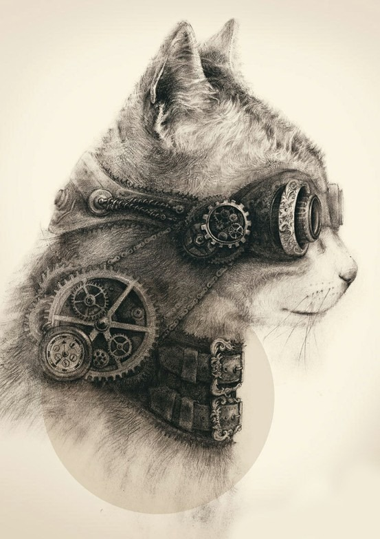 steampunk kitty via gaksdesigns