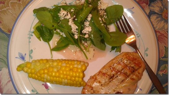 grilled chicken, corn and spinach salad
