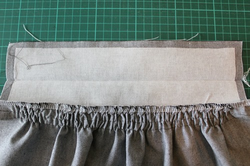 front waistband sewn on