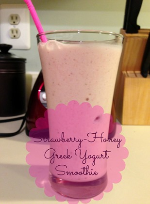 Strawberry~Honey Greek Yogurt Smoothie from NewMamaDiaries.blogspot.com