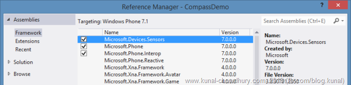 Add Microsoft.Devices.Sensors.dll reference in project