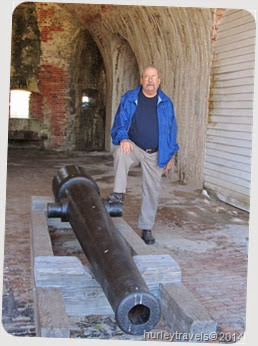 Jerry at the canon in Fort Morgan, Alabama.