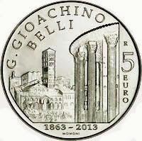 Moneta 5 euro 150.o scomparsa GG Belli Zecca Italia, rovescio 2013
