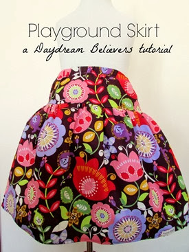 FREE Pattern and Tutorial from Daydream Believers: The Playground Skirt. Sizes 2t -8! Easy to follow DIY guide for creating a drop waist twirl skirt. www.daydreambelieversdesigns.com